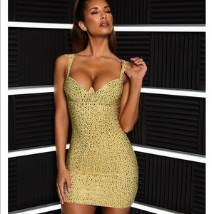 ❌❌SOLD❌❌Oh Polly Embellished gold dress
